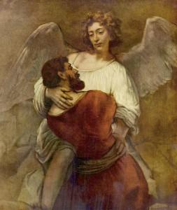 Jacob lucha con el ángel (Rembrandt, 1659)